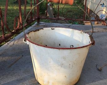 Antique rustic enamel white and red bucket with wooden handle, rusty bucket, farmhouse decor, garden decor, antique bucket