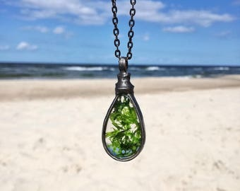 raw, Real Moss Necklace, inspirational women gift, moss terrarium, natural moss, Green Moss Pendant , Moss  Woodland Necklace Botanical
