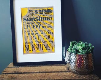 You are my sunshine burlap print and frame, Nursery decor, home decor, hessian print, you are my sunshine hessian print, Nursery inspiration