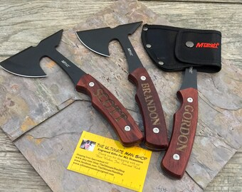 Engraved Mini Hatchet Axe and Sheath, Cool mens gift, Great Groomsman or Best Man present, Unique and Personalized for Outdoor Men