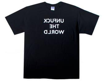 "Live streamers' Tee Unf-ck the World Reversed ""Mature"" Tee - 5.3 oz Heavyweight Gildan 100% Cotton Short Sleeve Screenprinted  T-shirt"