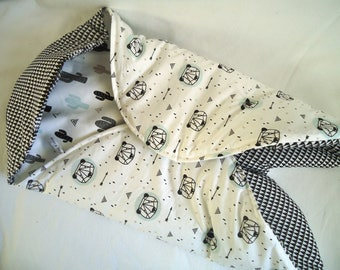 Bunting boy with legs, pandas and cactus, central part fabric black and white triangles handmade baby birth gift