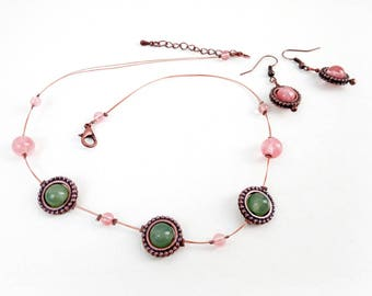 Jewelry set 'Anabelle', matching necklace and earrings - Rose quartz, green jade, copper - Statement jewelry, boho, handmade jewelry