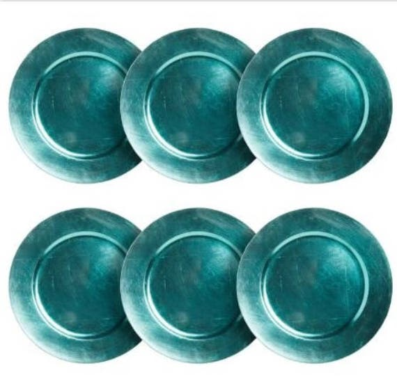 Like this item?  sc 1 st  Etsy & Set of 6 AQUA BLUE CHARGER Plates Chargers Tableware Plate