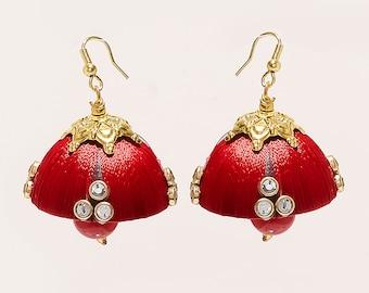 Silk Tread Earrings JHUMKI INDIAN JHUMKI Traditional Earrings fine Jewellery fashion earrings