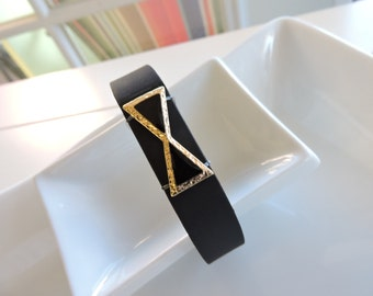 Lovely Band Bling Fitbit Bracelet Cover ~ Fitbit Flex bracelet Slide-on Charm - Decorative Bow Tie  trim with gold FitBit Charm