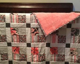 Flower Shower Pink/Gray Baby/ Toddler/ Lap Quilted Blanket