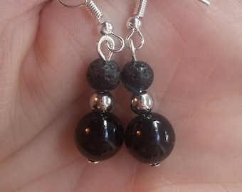 Diffuser jewelry. Diffuser earrings. Lava bead jewelry. Lava stone jewelry. Earrings. Black lava bead. Diffuser earrings