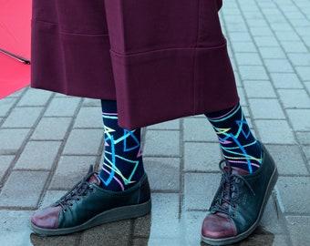 Bright Triangles Socks | men socks | colorful socks | women socks | unique socks | patterned socks | crazy socks | cool socks | BananaSocks