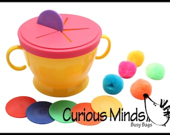 Toddler Busy Bag - Activity for 2 Year Old - Snack Cup with Poms and Chips