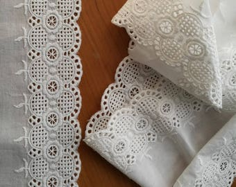 White Embroidered Eyelet Lace  - Vintage Lace - White Trim - Fashion Lace