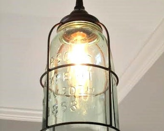 Rustic Half Gallon Caged Mason Jar Pendant Light   Farmhouse, Unique,  Industrial, Lighting