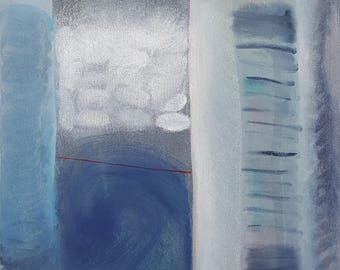 Blue grey white yellow abstract oil painting on canvas, ready to hang art