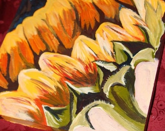 10 inch x 10 inch x 1 inch Sunflower Painting- Sunny Gift