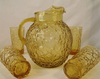 Anchor Hocking Lido Milano 96 oz Ball Pitcher Honey Gold With or Without 12 oz Tumblers