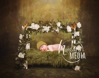 Newborn Baby Toddler Child Flower Grass Moss Bed - Studio  Fairy Portrait Digital Backdrop - Photography Background - Bed Photo Prop