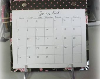 2018 - 2019 Pink Roses Refillable Desk Calendar