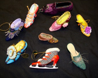 Vintage shoe ornament collection-miniature high heels-tiny shoes figurines ashton drake