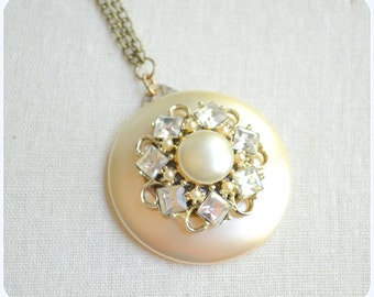 Heirloom- vintage rhinestone, pearl, layered necklace