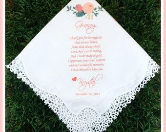 Grandma Handkerchief gift from the Bride and Groom-PRINT-CUSTOMIZE-Wedding Hankies-Grandmother Gift-Grandma Hankerchief-Bride Gift to Granny