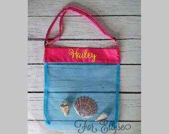 AQUA with PINK Personalized Seashell bag - mesh beach tote