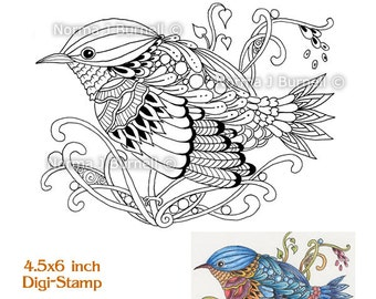 Bluebird 1 Fairy Tangles Printable Digi Stamps Instant Download Digital Stamp Zentangle Birds for Cardmaking Craft Projects and Coloring