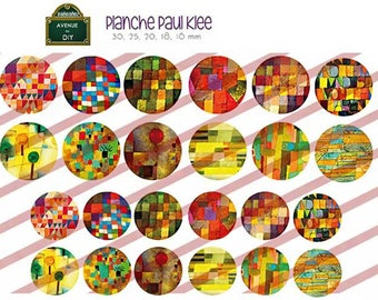 Digital collage sheet Paul Klee creation round cabochon (30 25 20, 18, 16 mm mm)