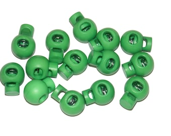Green Cord Locks for Paracord - Single Hole Round - Parachute Cord Accessories Fits 550 Paracord - Great for Crafts, Drawstring Bags