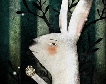 The White Rabbit (Alice in Wonderland) - open edition print - Whimsical Art