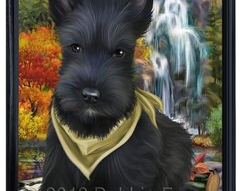 Scenic Waterfall Scottish Terrier Dog Framed Canvas Print Wall Art