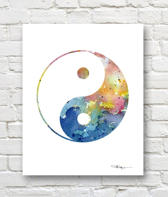 Attractive Yin Yang Art Print Abstract Watercolor Painting Wall KW34