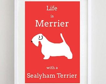 Sealyham Terrier Print Dog Picture Dog Art Dog Breed Illustration Poster Free UK Postage
