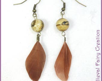 """""""Eagle"""" earrings, stone, feather and brass"""