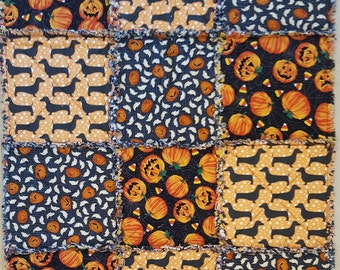 Small Holiday Rag Quilt - Dachshund Dog Halloween Theme