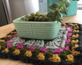 Pink Gray Gold Green Chunky Granny Square Crochet Trivet Boho Kitchen Hot Pad