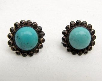 Vintage ~ Treated Turquoise ~ Cab Earrings ~ Sterling ~  Cabochons ~ Screw Backs ~ Patina ~ 1950s