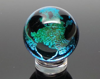 25mm Golden Green Earth Dichroic Image Borosilicate Glass Marble with black back. Comes with stand, ships immediately!