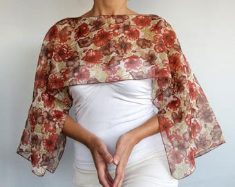 Floral Top Tunic, Evening Dress Cover-up, Shrug Brown Terra Cotta Flower Patterns Mesh Poncho Mother of the Bride Fashion