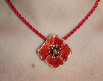 Flowers Collection: sterling silver and enamel poppy pendant necklace