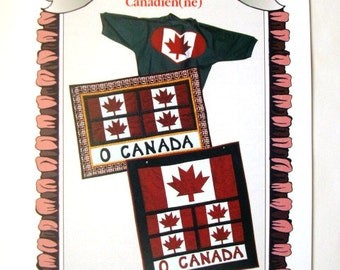 Proud to be Canadian Quilted WALL HANGING, FLAGS (3 sizes) and Applique. Maple Leaf, O Canada 1996 Ruffled Elegance