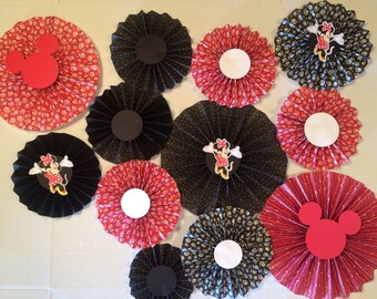 Rosettes mickey or minnie mouse set of 9