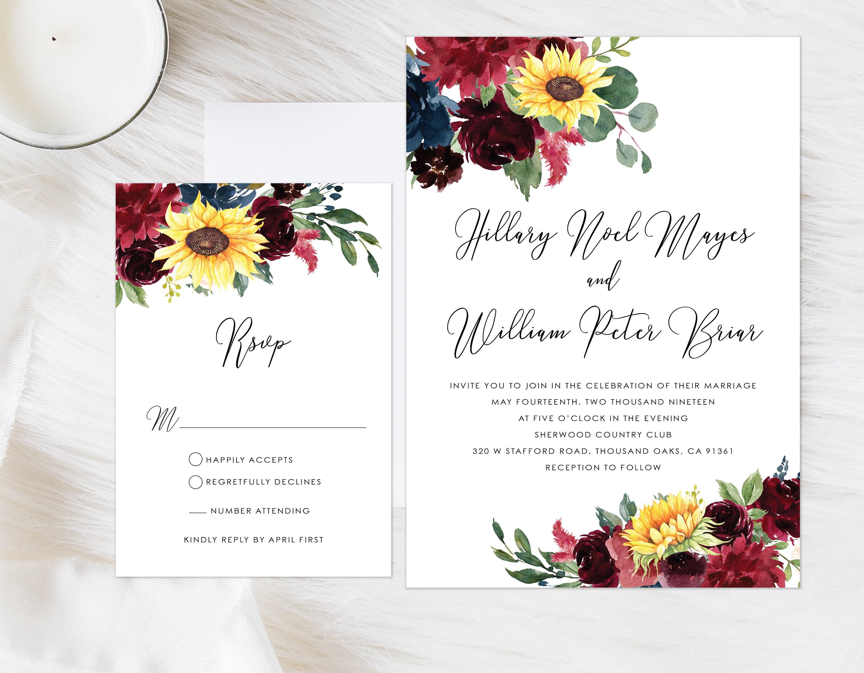 Marsala Wedding Invitation Burgundy Sunflower Wedding