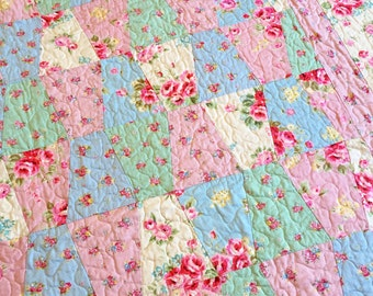 Australian Handmade Patchwork Quilt Cot Size Shabby Roses Nursery Free Postage