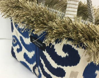 Blue and Beige Fringed BAGOLITA with Striped Interior | NEW Birdie Size!
