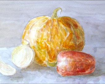 Still Life with Pumpkin - Original Watercolor Painting - 12,6x8,3 inch