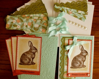 Hand Stitched, Hand Stamped, Happy Easter Chocolate Bunny 4 Card Kit