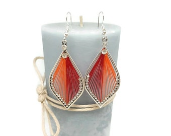 Drops earrings orange and Red