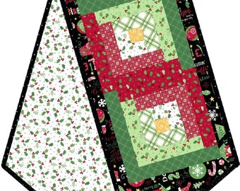 "JINGLE all the WAY Log Cabin Table Runner POD - 13"" x 45"" precut kit"