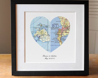 Anniversary Gift, Wedding Gift, Map Art, Heart Map, Engagement Gift, Thoughtful Gift, Gifts For Couple, Map Heart, Romantic