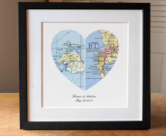 Canadian Wedding Gifts: Anniversary Gift Wedding Gift Map Art Heart Map Engagement